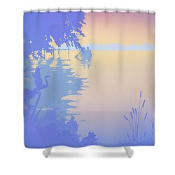 abstract tropical boat Dock Sunset large pop art nouveau retro 1980s florida landscape seascape Shower Curtain by Walt Curlee