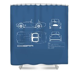 Ac Cobra Blueprint Shower Curtain by Mark Rogan