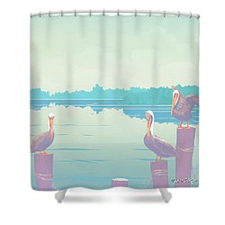 Abstract Pelicans Tropical Florida Seascape Large Pop Art Nouveau 80s 1980s Stylized Painting Shower Curtain by Walt Curlee