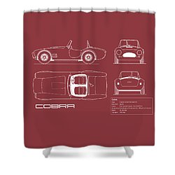 Ac Cobra Blueprint - Red Shower Curtain by Mark Rogan