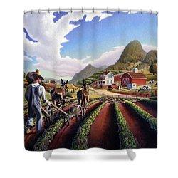 Appalachian Folk Art Summer Farmer Cultivating Peas Farm Farming Landscape Appalachia Americana Shower Curtain by Walt Curlee