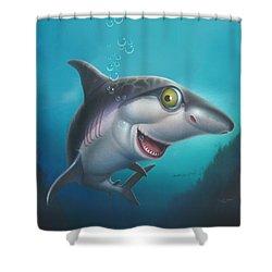 friendly Shark Cartoony cartoon under sea ocean underwater scene art print blue grey  Shower Curtain by Walt Curlee