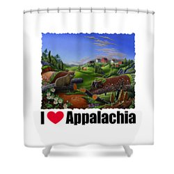 I Love Appalachia - Spring Groundhog Shower Curtain by Walt Curlee