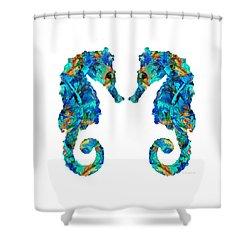 Blue Seahorse Art By Sharon Cummings Shower Curtain by Sharon Cummings