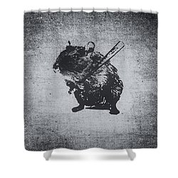 Angry Street Art Mouse  Hamster Baseball Edit  Shower Curtain by Philipp Rietz