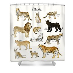 Wild Cats Shower Curtain by Amy Hamilton