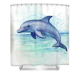 Dolphin Watercolor Shower Curtain by Olga Shvartsur