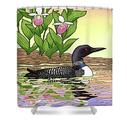 Minnesota State Bird Loon And Flower Ladyslipper Shower Curtain by Crista Forest