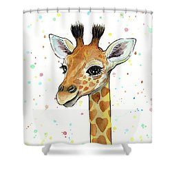 Baby Giraffe Watercolor With Heart Shaped Spots Shower Curtain by Olga Shvartsur