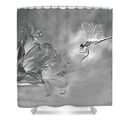 The Dragonfly And The Flower Shower Curtain by Linda Lees