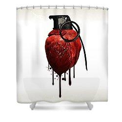 Heart Grenade Shower Curtain by Nicklas Gustafsson