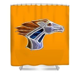 Glowing Bronco Shower Curtain by Shane Bechler