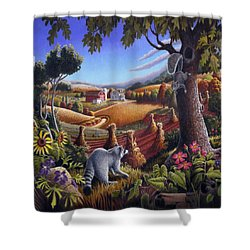 Rural Country Farm Life Landscape Folk Art Raccoon Squirrel Rustic Americana Scene  Shower Curtain by Walt Curlee