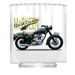 The Great Escape Motorcycle Shower Curtain by Mark Rogan