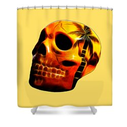 Glowing Skull Shower Curtain by Shane Bechler
