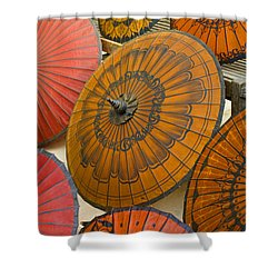 Asian Umbrellas Shower Curtain by Michele Burgess