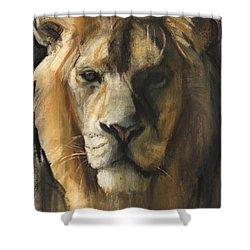 Asiatic Lion Shower Curtain by Mark Adlington