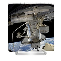 Astronaut Participates In A Spacewalk Shower Curtain by Stocktrek Images