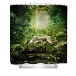 At Sleep Shower Curtain by Mary Hood