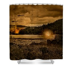 Attack At Nightfall Shower Curtain by Amanda And Christopher Elwell