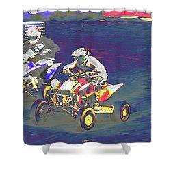 Atv Racing Shower Curtain by Karol Livote