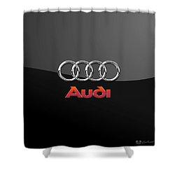 Audi 3 D Badge On Black Shower Curtain by Serge Averbukh