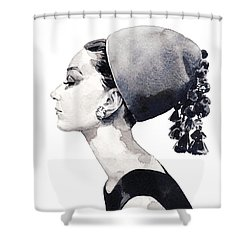 Audrey Hepburn For Vogue 1964 Couture Shower Curtain by Laura Row
