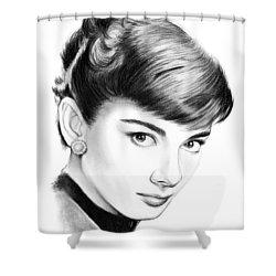 Audrey Hepburn Shower Curtain by Greg Joens