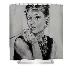 Audrey Hepburn Shower Curtain by Ylli Haruni