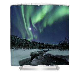 Aurora Borealis Over Blafjellelva River Shower Curtain by Arild Heitmann