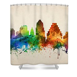 Austin Texas Skyline 05 Shower Curtain by Aged Pixel
