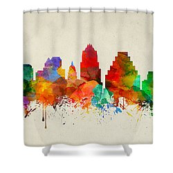 Austin Texas Skyline 22 Shower Curtain by Aged Pixel