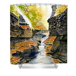 Autumn At Rainbow Falls  Shower Curtain by Melly Terpening