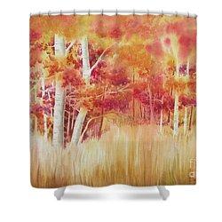 Autumn Blaze Shower Curtain by Deborah Ronglien