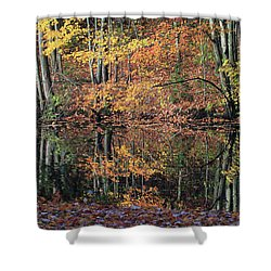 Autumn Colors Reflect Shower Curtain by Karol Livote