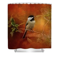 Autumn Day Chickadee Bird Art Shower Curtain by Jai Johnson
