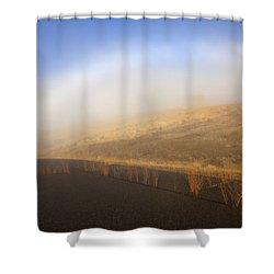 Autumn Fog Bow Shower Curtain by Mike  Dawson