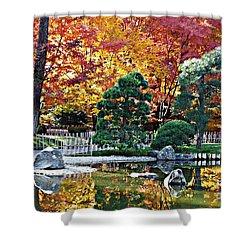 Autumn Glow In Manito Park Shower Curtain by Carol Groenen