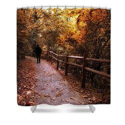 Autumn In Stride Shower Curtain by Jessica Jenney