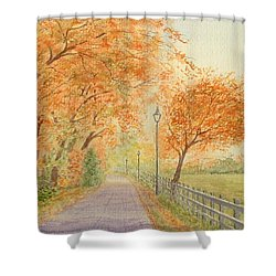 Autumn Lane - Royden Park, Wirral Shower Curtain by Peter Farrow