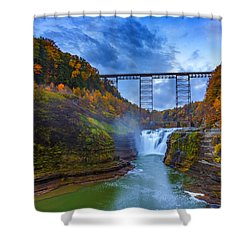 Autumn Morning At Upper Falls Shower Curtain by Rick Berk