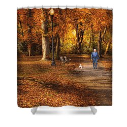 Autumn - People - A Walk In The Park Shower Curtain by Mike Savad