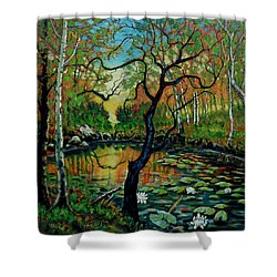 Autumn Reflections Shower Curtain by Denis Grosjean