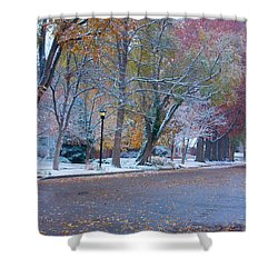 Autumn Winter Street Light Color Shower Curtain by James BO  Insogna
