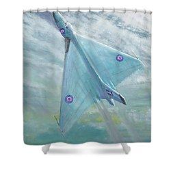 Avro Vulcan B1 Night Flight Shower Curtain by Vincent Alexander Booth