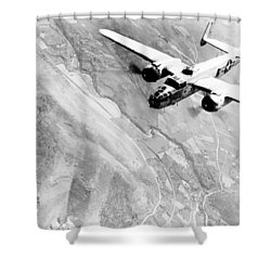 B-25 Bomber Over Germany Shower Curtain by War Is Hell Store