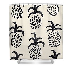 B And W Pineapple Print Shower Curtain by Anne Seay