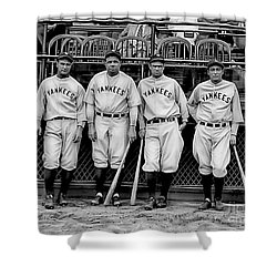 Babe Ruth Lou Gehrig And Joe Dimaggio Shower Curtain by Marvin Blaine