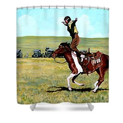 Babette Rides Again Shower Curtain by Tom Roderick