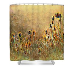 Backlit Thistle Shower Curtain by Frances Marino